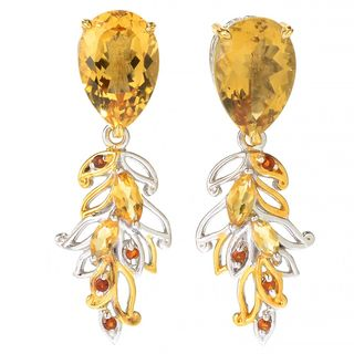 Michael Valitutti Palladium Silve Multi Citrine Branch & Leaf Dangle Earrings