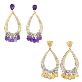 Michael Valitutti Palladium Silve Choice of Amethyst or Citrine Briolette Fringe Teardrop Dangle Earrings