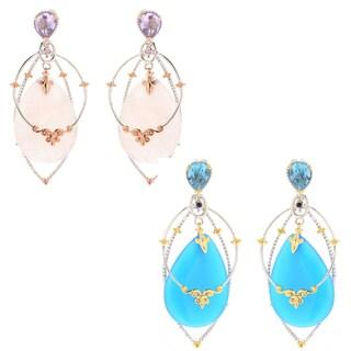 Michael Valitutti Palladium Silve Choice of Rose Quartz or Blue Chalcedony Multi Layer Dangle Earrings