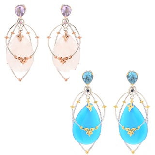 Michael Valitutti Palladium Silve Choice of Rose Quartz or Blue Chalcedony Multi Layer Dangle Earrings