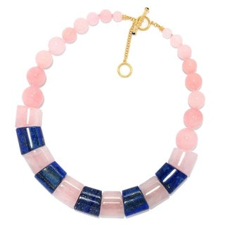 Michael Valitutti Palladium Silver Lapis Lazuli & Rose Quartz Bead Necklace