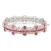 Michael Valitutti Palladium Silver Pink Tourmaline Hinged Bangle Bracelet