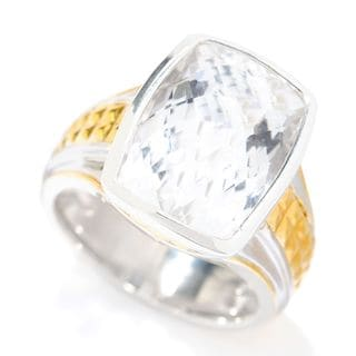 Michael Valitutti Palladium Silver Checkerboard Cut White Quartz Textured Ring