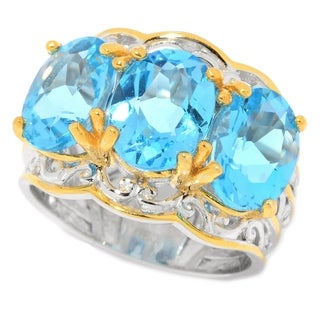 Michael Valitutti Palladium Silver Swiss Blue Topaz Three-Stone Band Ring