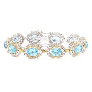 Michael Valitutti Palladium Silver Choice of Length Swiss Blue Topaz Tennis Bracelet
