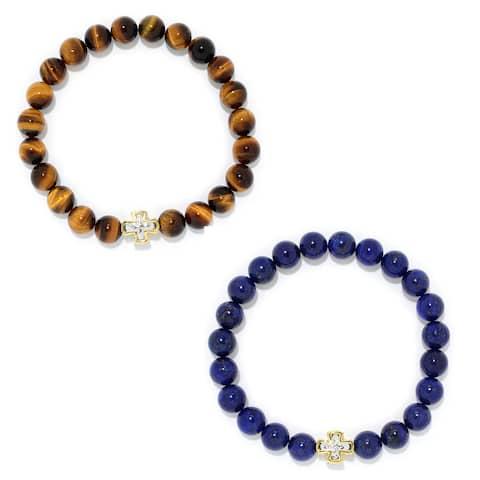 Gems en Vogue Palladium Silver Choice of Tiger Eye or Lapis Bead Cross Station Stretch Men's Bracelet
