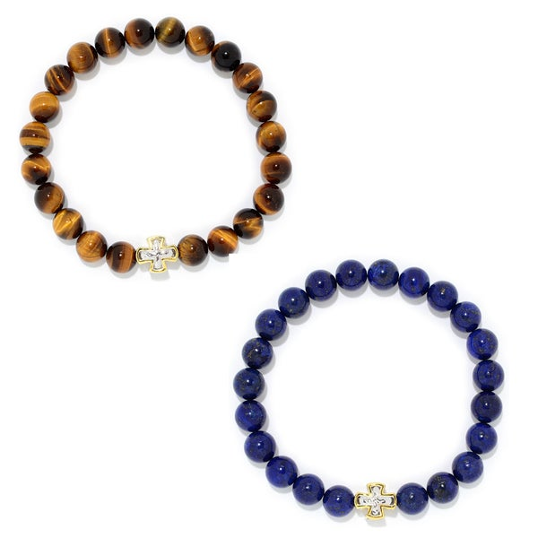 Michael Valitutti Palladium Silver Choice of Tiger Eye or Lapis Bead Cross Station Stretch Men's Bracelet