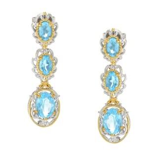 Michael Valitutti Palladium Silve Oval Swiss Blue Topaz Three-Stone Dangle Earrings