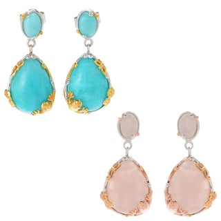 Michael Valitutti Palladium Silve Multi Shape Amazonite/Rose Quartz Frog & Butterfly Drop Earrings