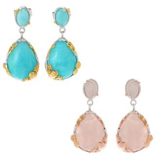 Michael Valitutti Palladium Silve Multi Shape Amazonite/Rose Quartz Frog & Butterfly Drop Earrings