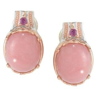 Michael Valitutti Palladium Silver Ica Peru Pink Opal & Rhodolite Earrings w/ Omega Backs