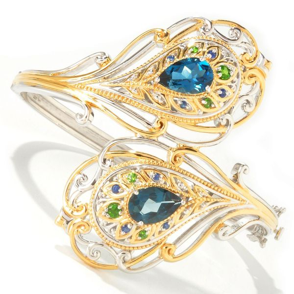 Michael Valitutti Palladium Silver London Blue Topaz & Multi Gemstone Bangle Bracelet