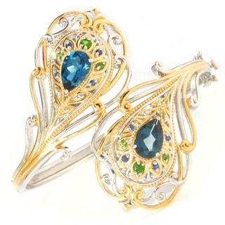 Michael Valitutti Palladium Silver London Blue Topaz & Multi Gemstone Bangle Bracelet