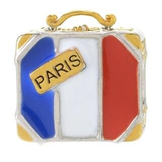 Michael Valitutti Palladium Silver Paris French Flag Suitcase Slide-on Charm