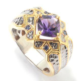 Michael Valitutti Palladium Silver Cushion Congo Amethyst & Blue Sapphire Men's Ring