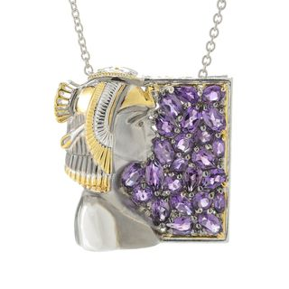 """Michael Valitutti Palladium Silver Cleopatra Multi Shapes African Amethyst Cluster Pendant w/ 18"""" Cable Chain"""