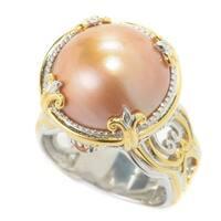 Michael Valitutti Palladium Silver Mabe Cultured Pearl & Madeira Citrine Ring - Gold