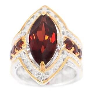 Michael Valitutti Palladium Silver Marquise Shaped Mozambique Garnet Ring