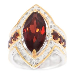 Michael Valitutti Palladium Silver Marquise Shaped Mozambique Garnet Ring