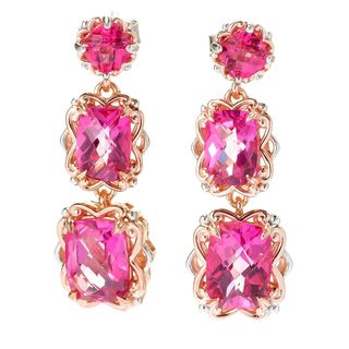 Michael Valitutti Palladium Silver Checkerboard Cut Cushion Pink Topaz Dangle Earrings