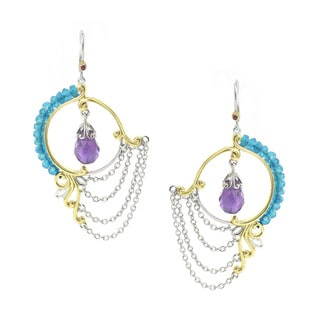 Michael Valitutti Palladium Silver Amethyst And Apatite Earrings
