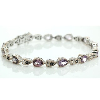 Michael Valitutti Palladium Silver Pear and Pink Amethyst Line Bracelet with Slide Insert Clasp