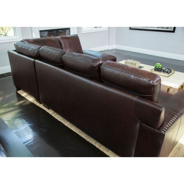 Abbyson Monaco Brown Top Grain Leather Sectional Sofa Free