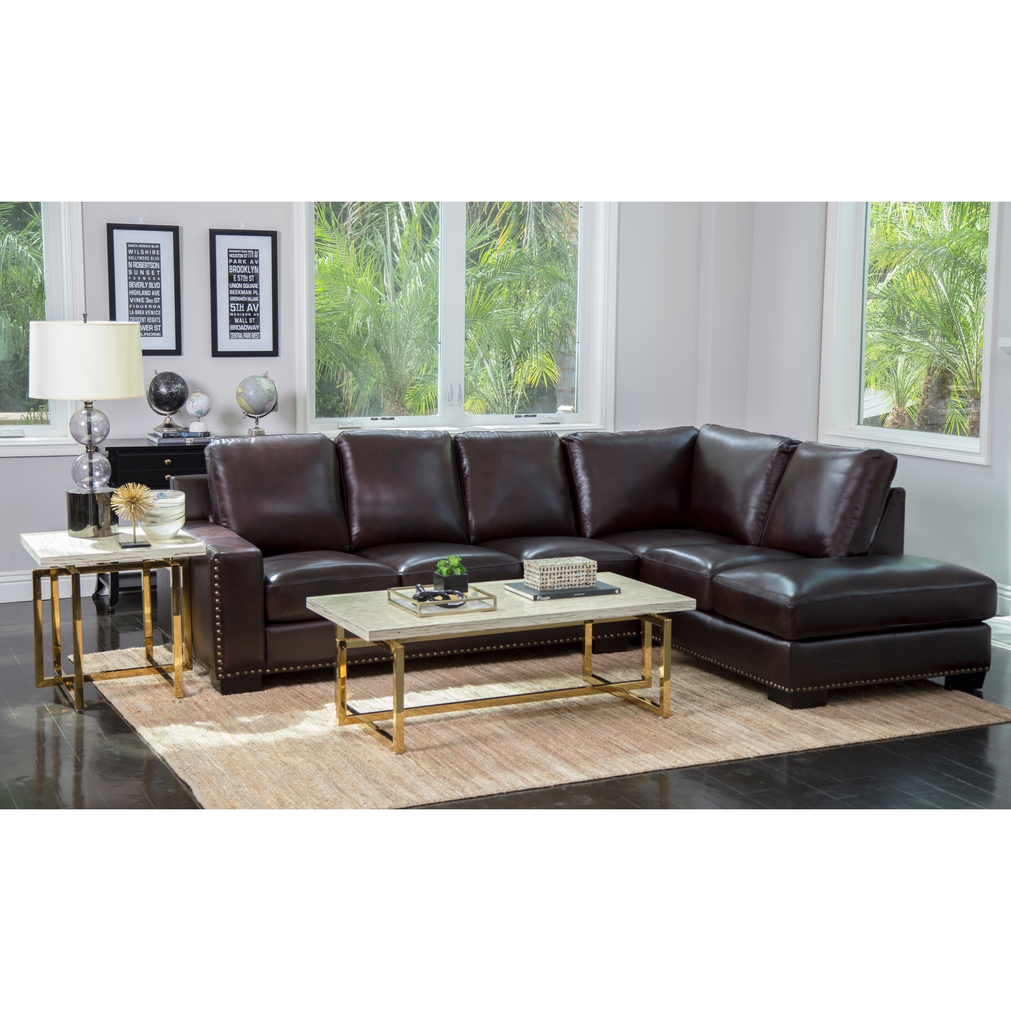 Exceptionnel Abbyson Monaco Brown Top Grain Leather Sectional Sofa