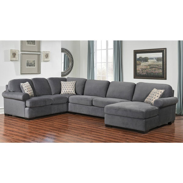Abbyson Tanya Grey Fabric 4 Piece Sectional Sofa