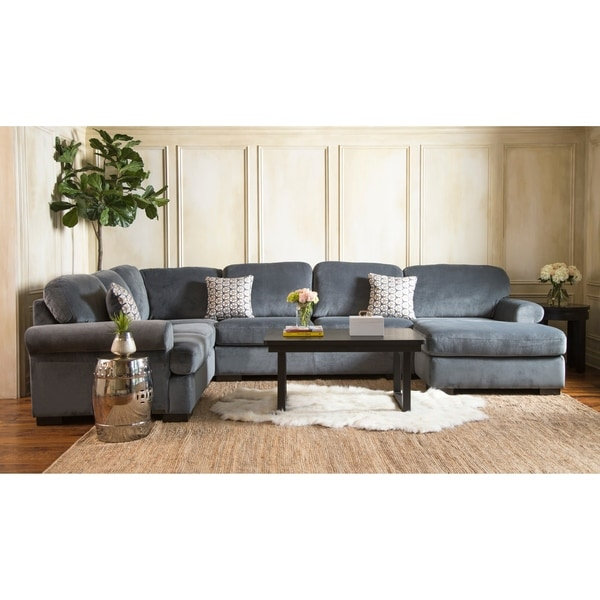 Shop Abbyson Tanya Grey Fabric 4 Piece Sectional Sofa Free