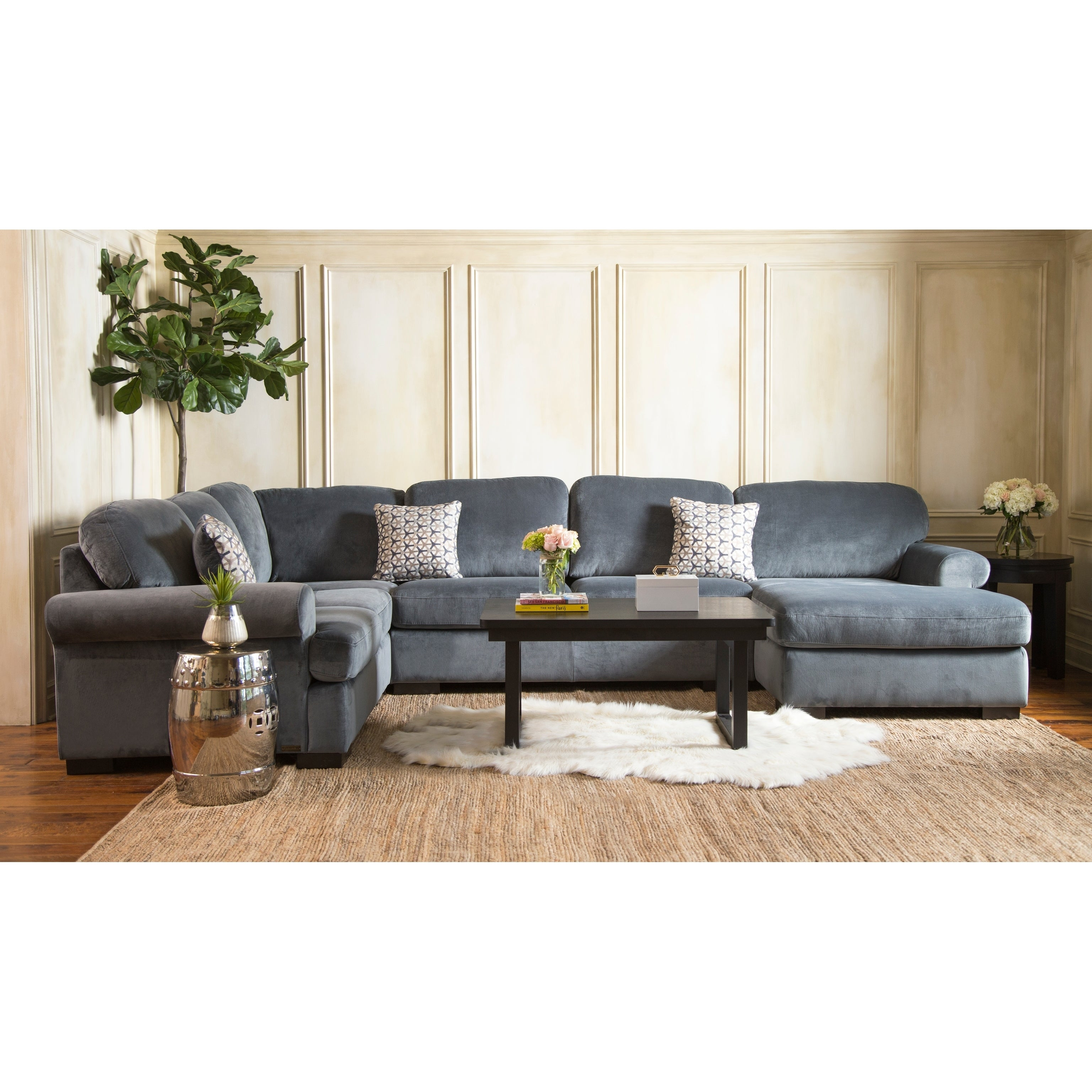 Abbyson Living Westbury Leather Sectional Sofa Black