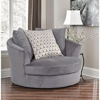 Abbyson Tanya Grey Fabric Round Swivel Chair
