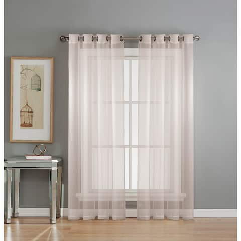 Window Elements Diamond Sheer Voile 84-inch Extra Wide Grommet Curtain Panel - 54 x 84 - 54 x 84