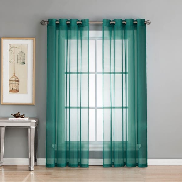 Window Elements Diamond Sheer Voile 84 Inch Extra Wide Grommet Curtain Panel 54 X 84 54 X 84 Overstock 14466367 Charcoal