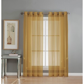 Window Elements Diamond Sheer Voile 84-inch Extra Wide Grommet Curtain Panel - 54 x 84 (Option: Gold)