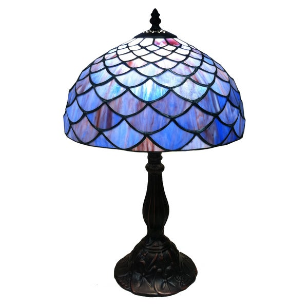 Shop Tiffany Style Blue Shell Table Lamp Free Shipping