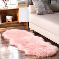nuLOOM Double Faux Flokati Sheepskin Soft and Plush Cloud Blush Shag Runner Rug - 2' x 6'