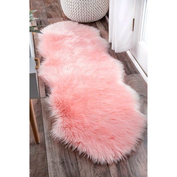 Nuloom Double Faux Flokati Sheepskin Soft And Plush Cloud