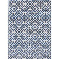 eCarpetGallery Chroma Blue/Ivory Polypropylene Rug (5'5 x 7'7)