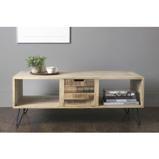 East At Main's Omega Brown Mindi Wood Rectangular Coffee Table