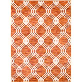 eCarpetGallery Chroma Orange and Red Polypropylene Rug (5'3x7'2)