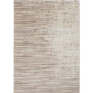 eCarpetGallery Soho Brown/Ivory Polypropylene Shag Rug (5'5 x 7'7)