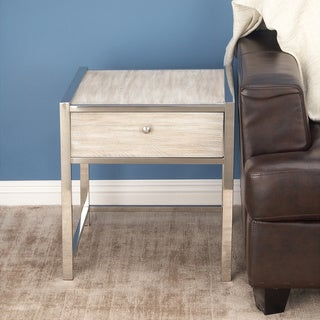 Urban Designs Delaney White Wash Wood End And Accent Table