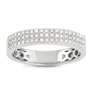 Journee Collection Sterling Silver 3/5 CT TDW Diamond Round Cut Micropave Band