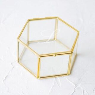 Goldtone Glass Personalized Keepsake Box