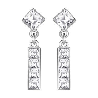 Rhodium-plated Clear Crystal Women's Vio Earrings