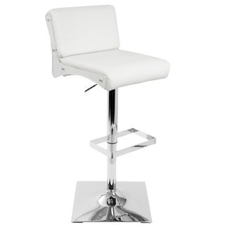 Éclair Adjustable Contemporary Bar Stool in White and Acrylic