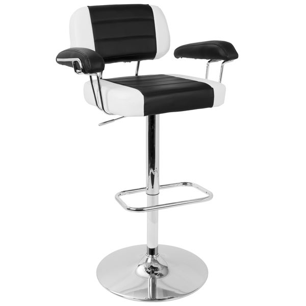 Cruiser Adjule Retro Bar Stool In Black And White