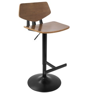 Apex Industrial Adjustable Barstool in Walnut and Black
