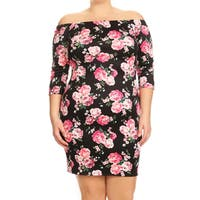Women's Floral Roses Plus-size Bodycon Dress